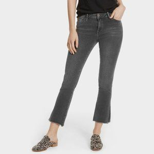 FREE PEOPLE Grey High Rise Straight Crop Jeans